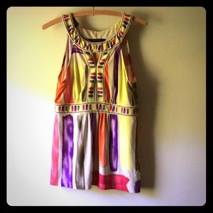 BCBGMaxAzaria sleeveless multicolored blouse